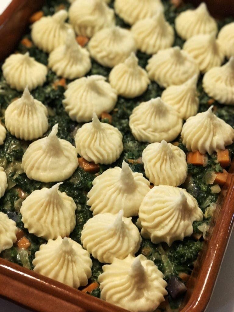Roasted Garlic Parsnip Topped Shepherd's Pie