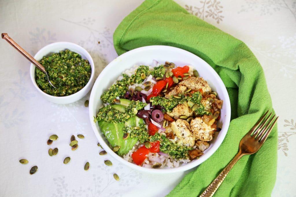 Chimichurri Brown Rice Bowl with Pepitas