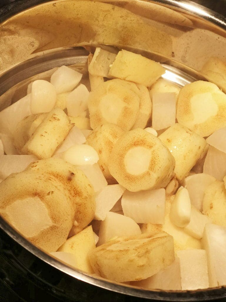 Steamed Parsnips, Turnips and Whole Garlic Cloves, comfort food