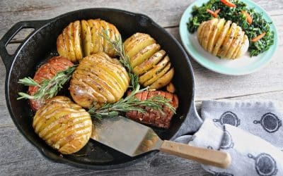 Celebrate St Pat's with Rosemary Garlic Hasselback Potatoes with Greens