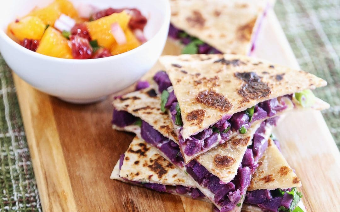 Eat the Rainbow on Cinco de Mayo with Purple Sweet Potato Quesadillas