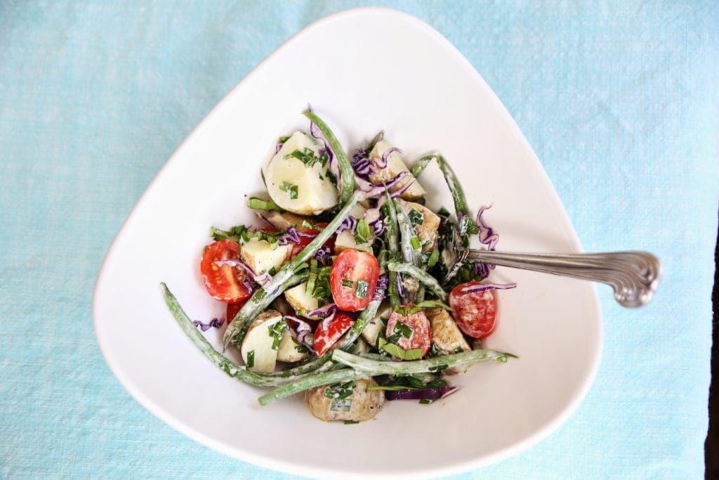 New Potato and Green Bean Potato Salad with Basil