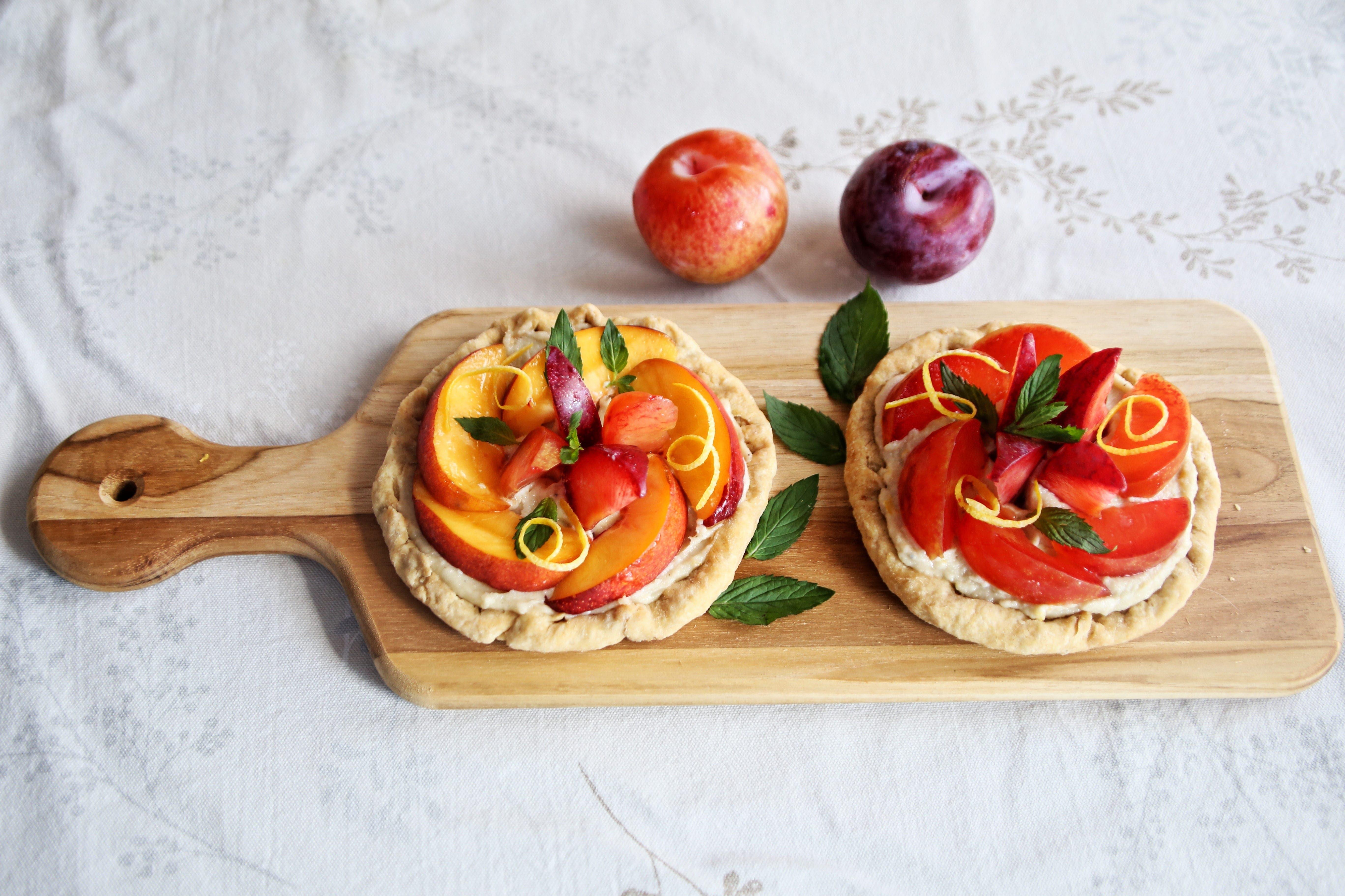 Two Fresh Fruit Tarts with Lemony Cream