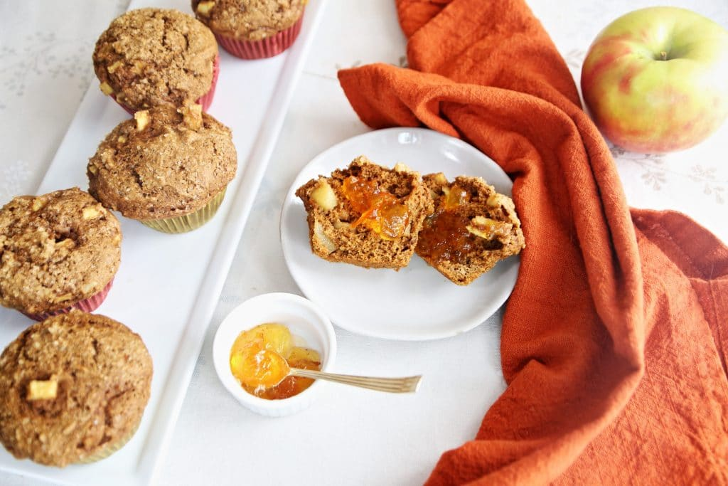Whole Grain Honeycrisp Walnut Muffins