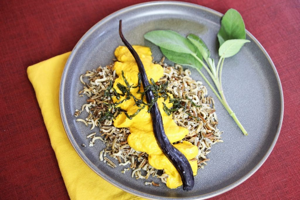 Rainbow carrot sauce over wild rice