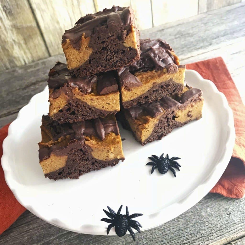 Vegan Pumpkin Swirl Brownies with Ganache