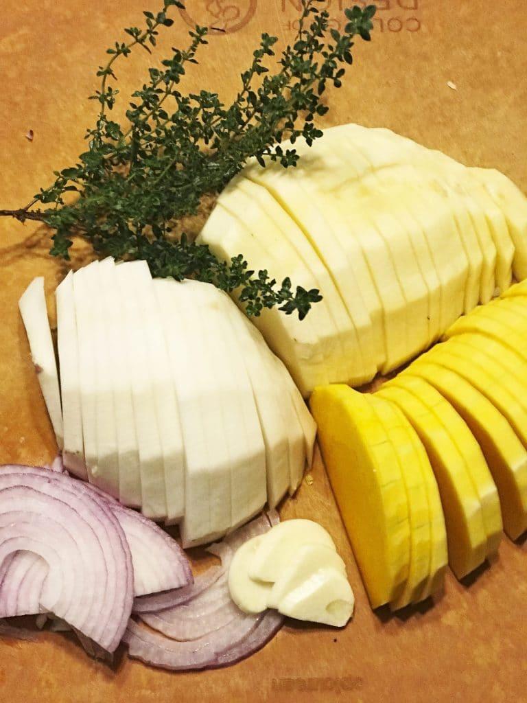 Sliced Vegetables for a Gratin