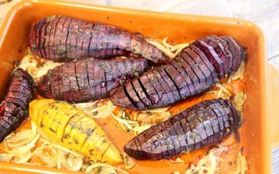 Hasselback Purple Sweet Potatoes with Sage, for a Colorful Side Dish