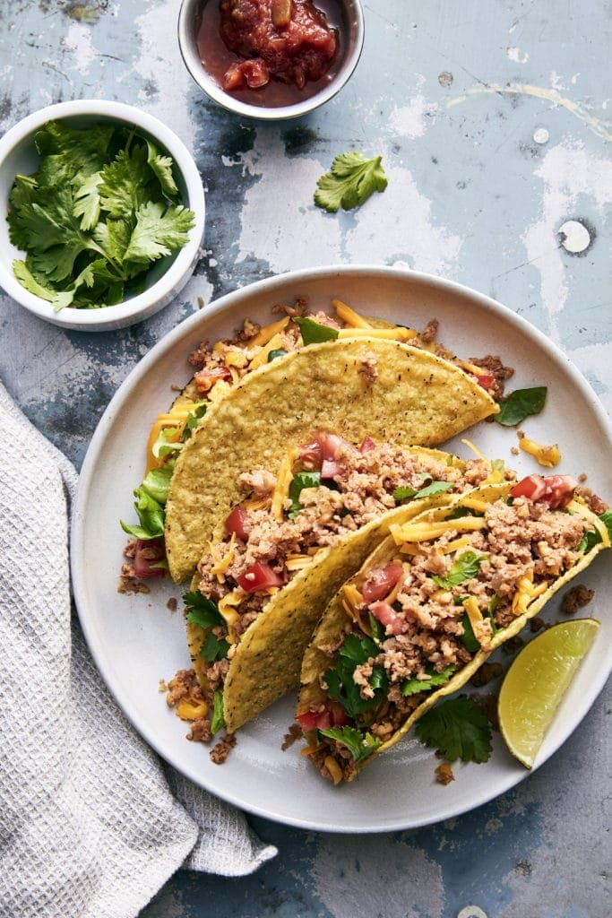 Walnut Cauliflower Ground Beef Tacos, a GF Option from Plant Based Meats by Robin Asbell