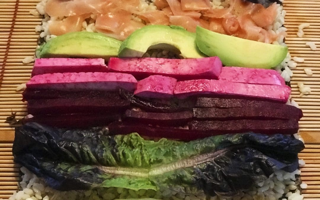 Jumbo Tofu Beet Sushi Rolls-When Bigger is Best