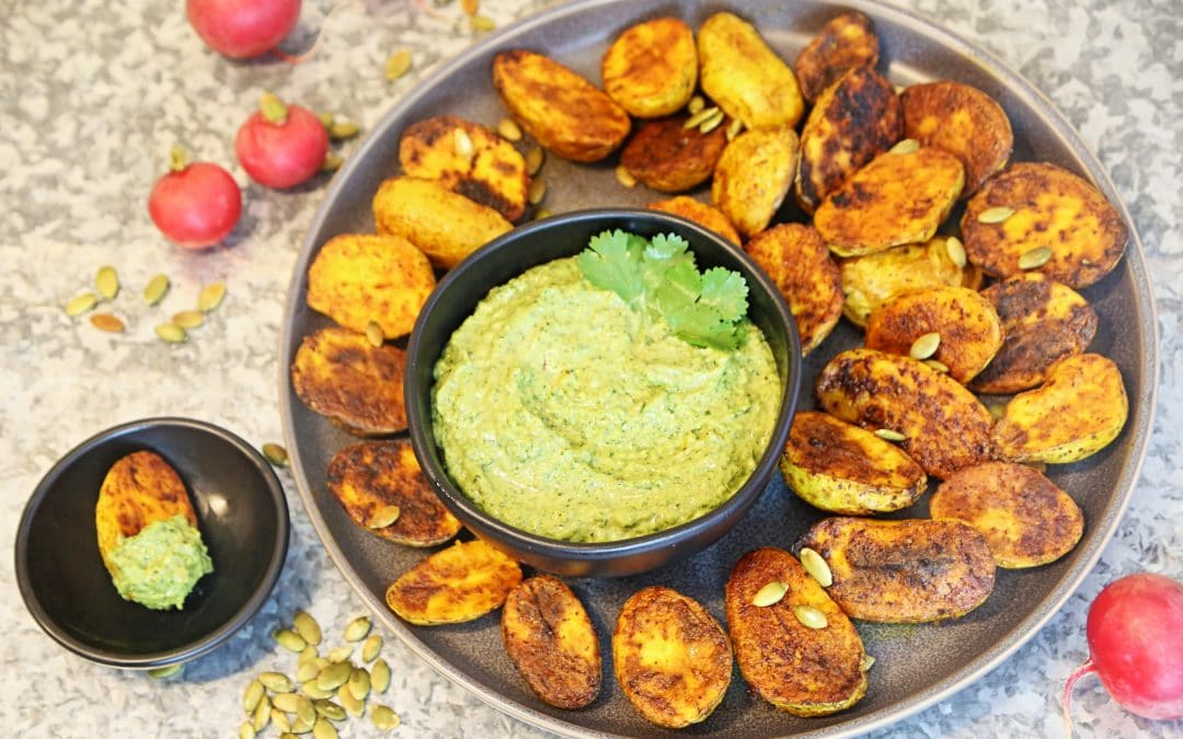 Make a Fast Meal with Roasted New Potatoes and a Pumpkinseed-Cilantro Dip