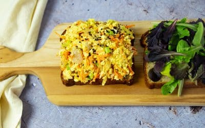 Convenient Meal Prep: Tofu Egg Salad with Kimchi