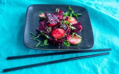 Beets and Cukes in Miso Dressing with Pickled Ginger