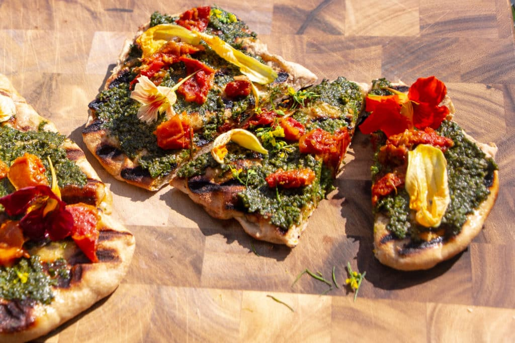 Grilled Pizza with Edible Flowers