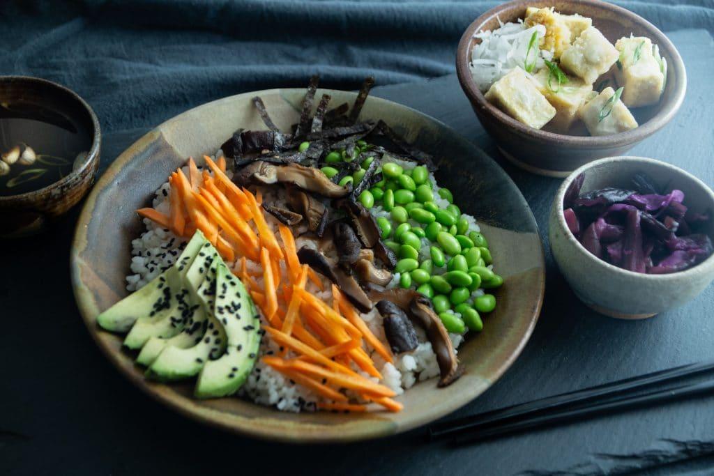 Chirazi sushi and Agedashi tofu
