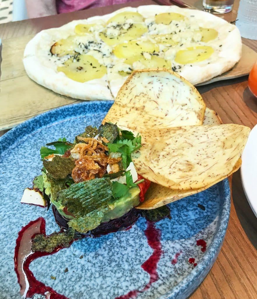 Planta Avocado Beet Tartare and Pizza Bianca