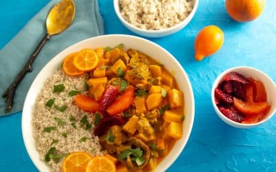 Savor Citrus in Red Curry Mock Duck with 3 Oranges over Fonio