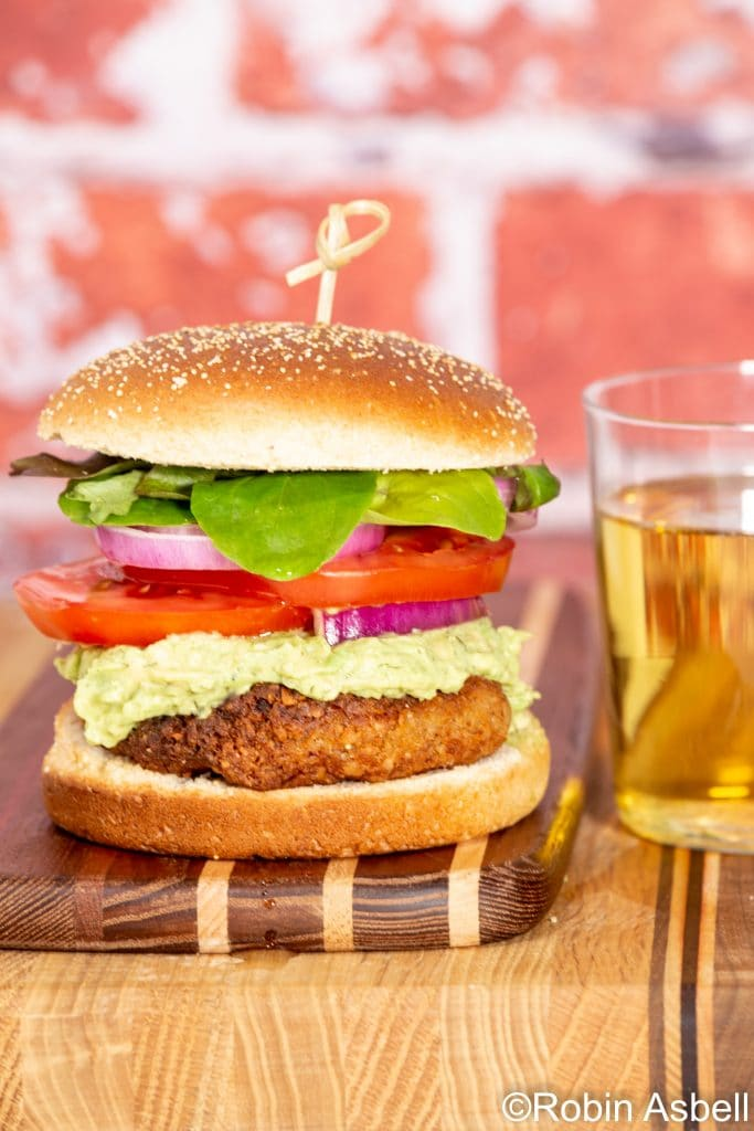 Chickpea-Caper Burger with Avocado Tzatziki