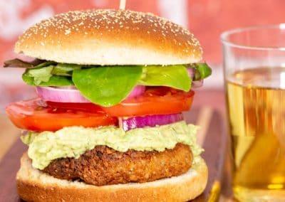 Chickpea Burger with Avocado Tzatziki