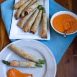 asparagus in phyllo with romesco