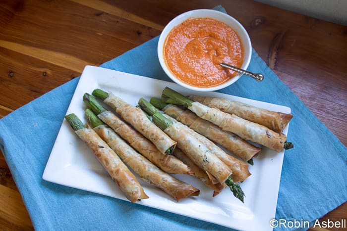 Aphrodisiac Asparagus Spears Wrapped in Phyllo, with Romesco, a Spring Celebration!