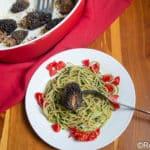 Stuffed Morels over Pesto Pasta