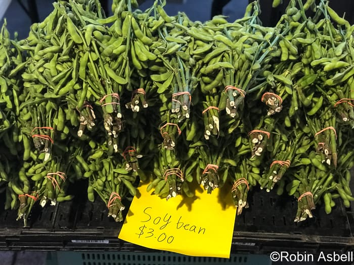 Edamame Bunches at the Farmers Market