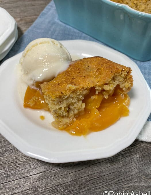 Peachy Cornbread Cobbler, with Calhoun County Peaches