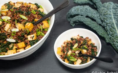 Kale and Kimchi Fried Red Rice with Tofu