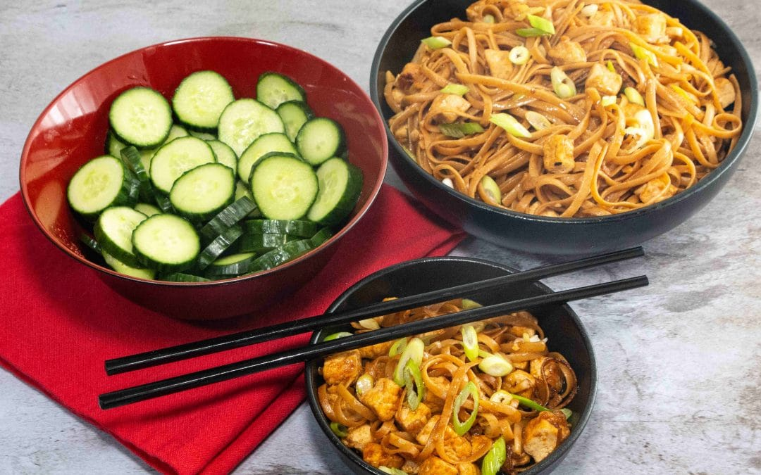 Sticky Tofu and Noodles, with Cucumber Salad
