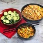 sticky tofu and noodles