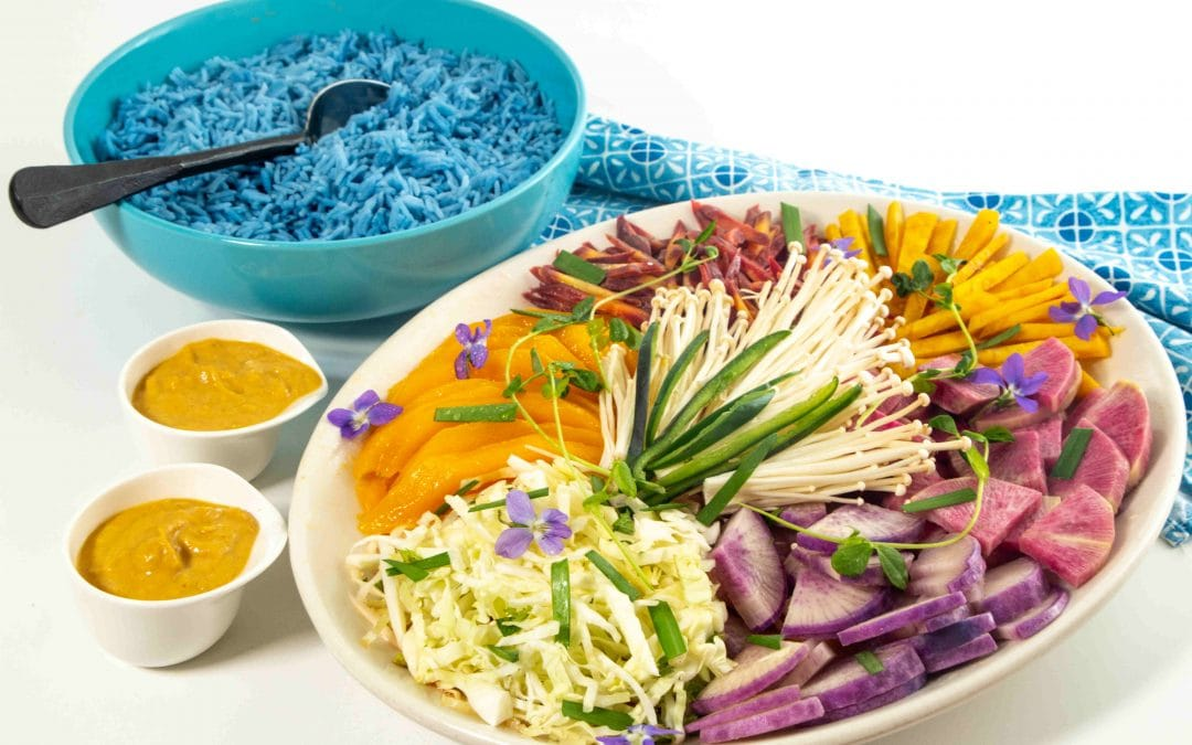 Blue Butterfly Pea Rice with Veggies and Satay Sauce
