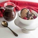 non-dairy no-churn ice cream and chocolate sauce