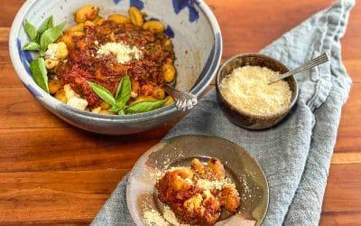 Roasted Tomato Sauce over Pan-Toasted Gnocchi