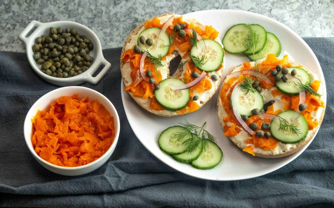 """Plant Based Smoky """"Lox"""" and """"Cream Cheese"""" Bagels!"""